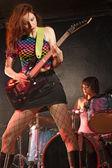 Girl rock band — Stock Photo