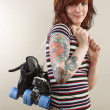 Roller derby skater girl - Stock Photo