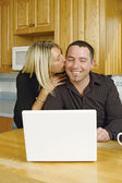 Young couple internet joy — Stock Photo