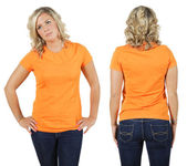 Female with blank orange shirt — Stockfoto
