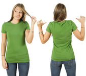 Female with blank green shirt — Stock Photo