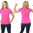Female with blank pink shirt — Stock Photo #3478447