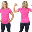 Stock Photo: Female with blank pink shirt