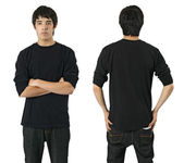Male with blank black shirt — Stock Photo