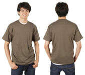Male with blank chestnut shirt — Stock Photo