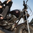 Motorcycle girl angle — Stock Photo