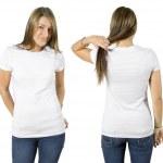 Female wearing blank white shirt — Stock Photo