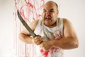 Mad butcher — Stock Photo