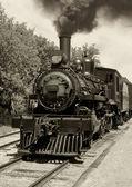 Old locomotive sepia — Stock Photo