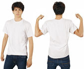Male with blank white shirt — Stock Photo