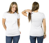 Female wearing blank white shirt — Stock Photo