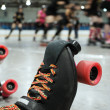 Roller derby skater knocked out — Stock Photo