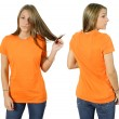 Female wearing blank orange shirt — Stock Photo #3497148