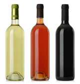 Botellas de vino no blanco etiquetas — Foto de Stock