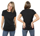 Female wearing blank black shirt — Stock Photo