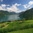 Lake Lucerne and the Alps - Stock Photo