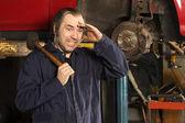Crazy mechanic confused — Stock Photo