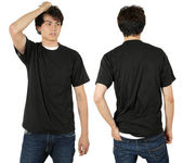 Male wearing blank black shirt — Stock Photo