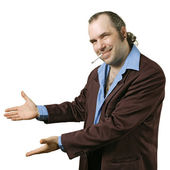 Sleazy salesman pointing — Stock Photo