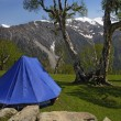 Tent in the mountains — Stock Photo