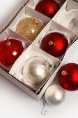 Christmas balls in a box — Stock Photo