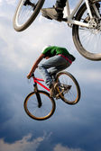 Airborne bikes — Stock Photo