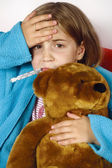 Sick child with fever — Stock Photo