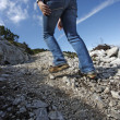 Female hiker motion blur - Stock Photo