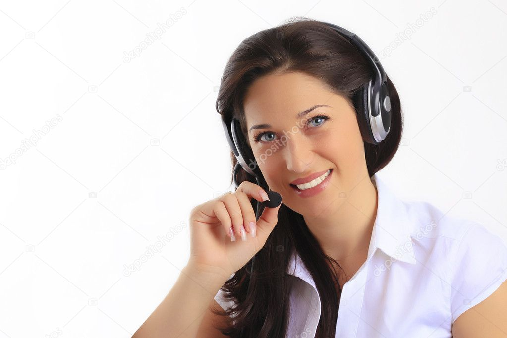 Smiling pretty business woman with headset. — Stock Photo #3044108