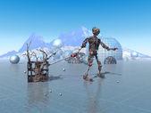 Cybernetic organism need of repair — Stock Photo