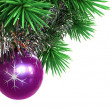 Fir tree with Christmas ball and tinsel — Stok fotoğraf