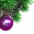 Fir tree with Christmas ball and tinsel — Stock fotografie