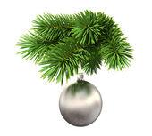 Fir boom met een bal van kerstmis — Stockfoto