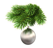 Fir tree with a christmas ball — ストック写真