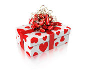 White gift with hearts — Stock Photo