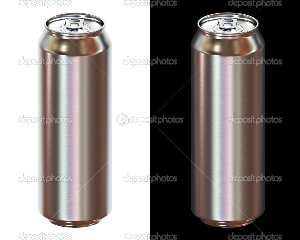 Beer can isolated on white and black background — Stock Photo #3045288