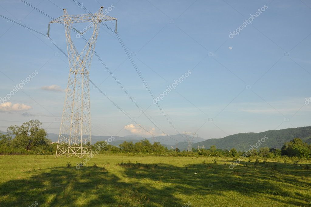 Transmission line with background of blue sky — Stock Photo #3178835