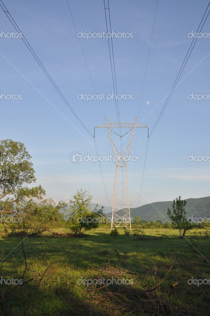 Transmission line with background of blue sky — Stock Photo #3178991