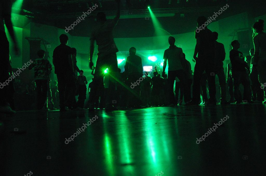 Cheering crowd at concert, musicians on the stage — Stock Photo #3236044