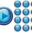 Glossy buttons audio-video media control — Stock Vector