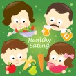 Stock Vector: Healthy eating family