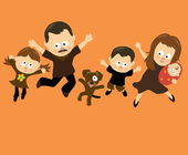 Family Jumping 3 (Hispanic) — Vector de stock