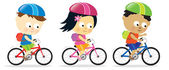Kids riding bikes — Stock Vector