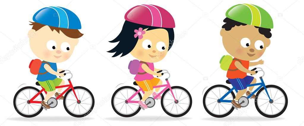 Children of different ethnicities riding bicycles — Stock Vector #3030193