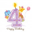 Birthday Candle and Animals — Stock Vector
