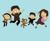 African American family jumping — Stock Vector