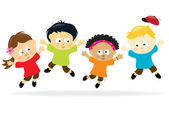 Jumping kids - multi-ethnic — Stock Vector