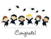 Graduating kids - multi-ethnic — Stock Vector