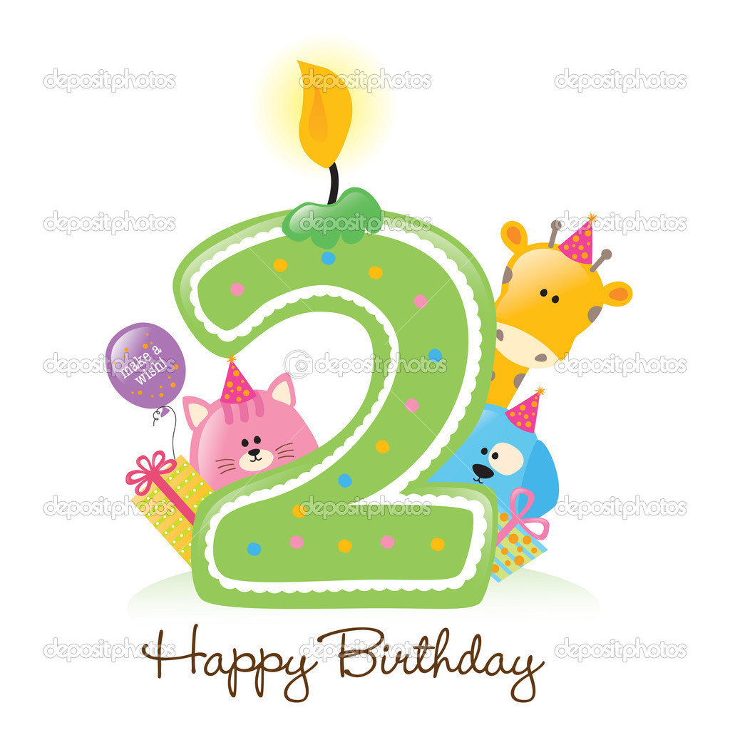 Happy Birthday candle and animals isolated over white — Stock Vector #3073420