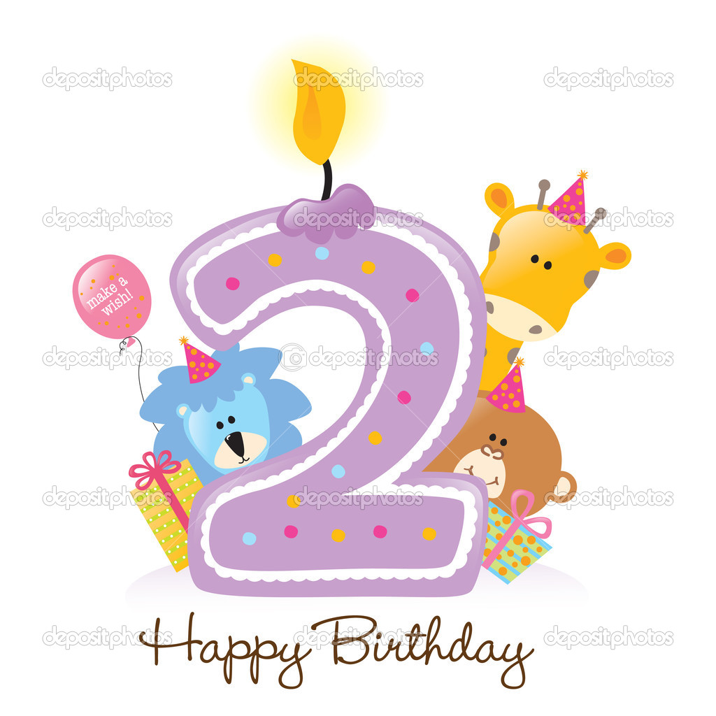 Happy Birthday candle and animals isolated over white — Stock Vector #3073462